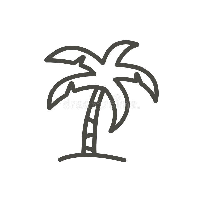 Gömma i handflatan symbolsvektorn Linje isolerat strandträdsymbol Moderiktig plan design för översiktsuitecken Tunt linjärt royaltyfri illustrationer