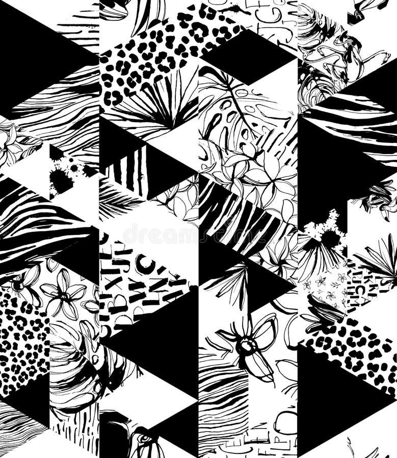 Gömma i handflatan tropiska fåglar för sömlös modell, blommor, trianglar Grungefärgpulverstil royaltyfri illustrationer
