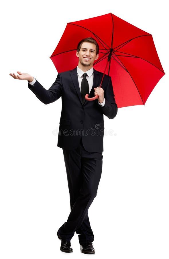 Gömma i handflatan upp man med paraplyet royaltyfria bilder