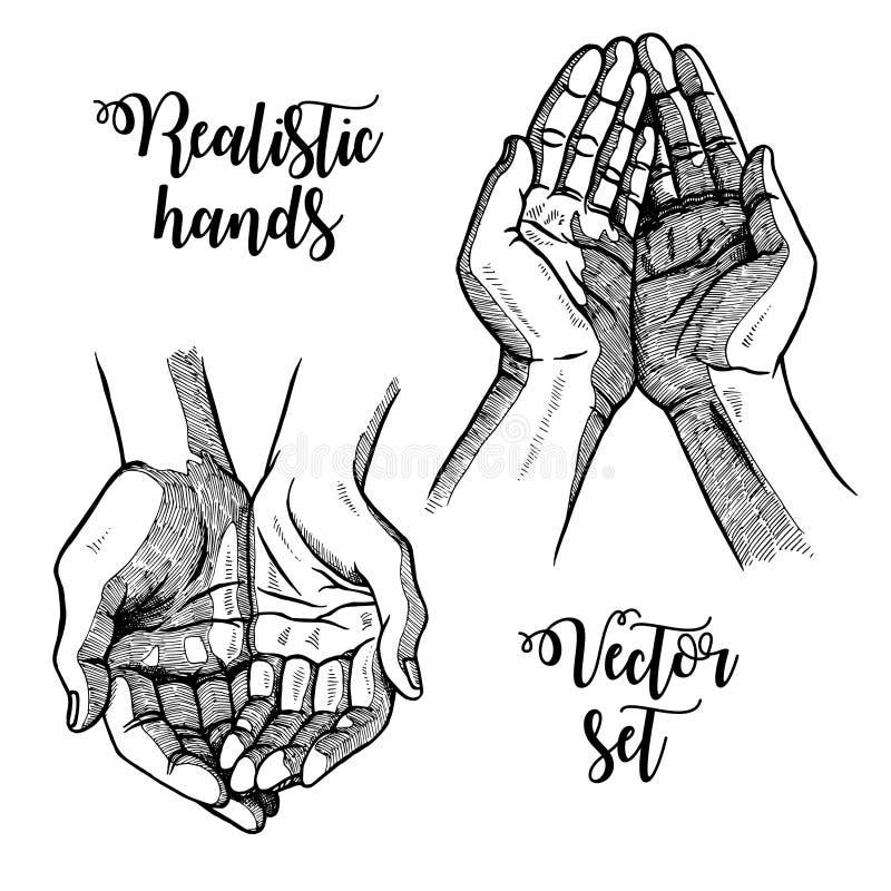 Gömma i handflatan utdraget öppet för hand Svartvita tappninghänder Vektorn skissar vektor illustrationer