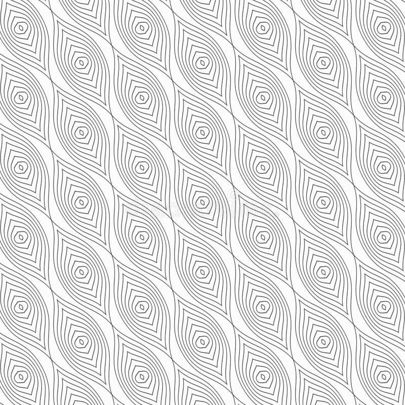 Gör den geometriska modellen för vektorn med släta krabba former, kedjor, ovals, krökta vertikala linjer i abstrakta ögon tunnare royaltyfri illustrationer