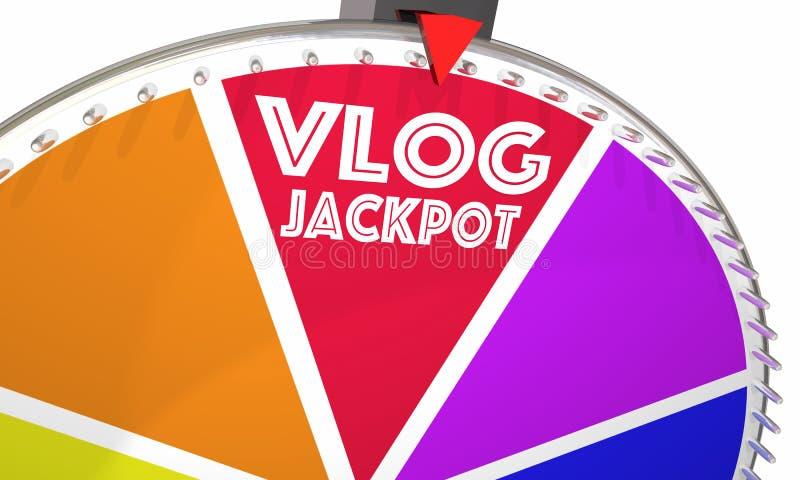 Gör den videopd bloggen för den Vlog jackpottet pengar hjulet 3d Illustrati för den modiga showen vektor illustrationer