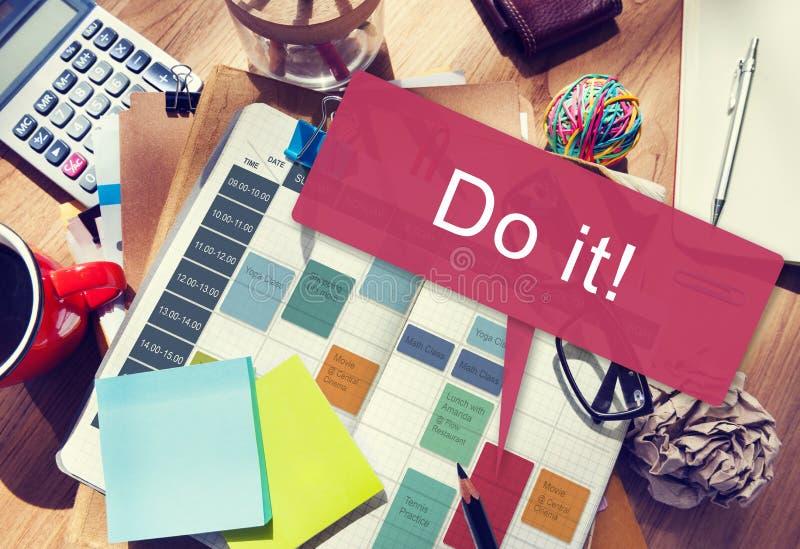Gör det begreppet för motivationutvecklingsuppmuntran arkivfoton
