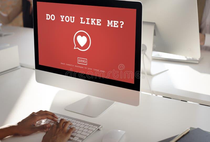 Gör dig gillar mig? Valentine Romance Heart Love Passion begrepp royaltyfri fotografi