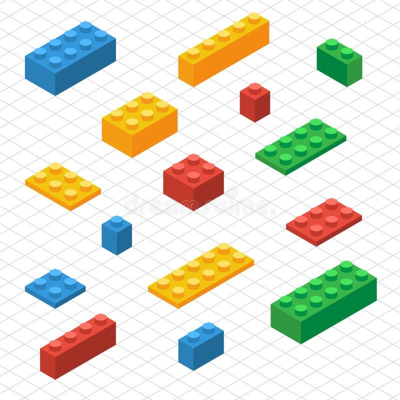 Gör din självuppsättning av legokvarter i isometrisk sikt vektor illustrationer