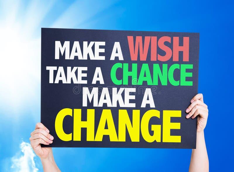Gör en önska att ta en möjlighet gör ett ändringskort med en härlig dag arkivfoton