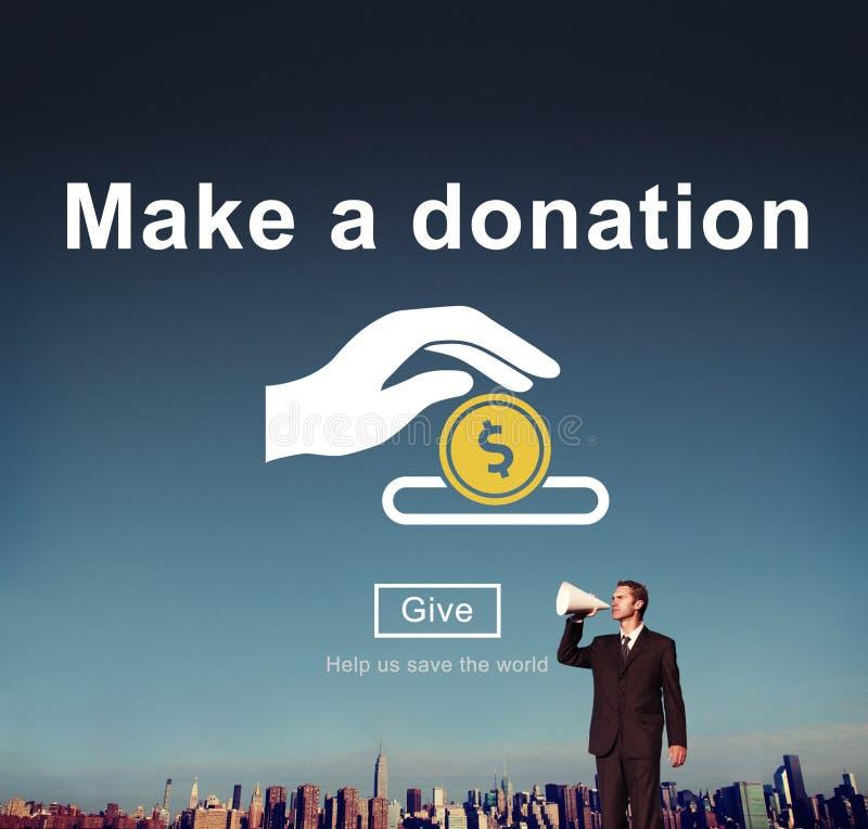 Gör en donationvälgörenhet att donera bidrar ger begrepp arkivbilder