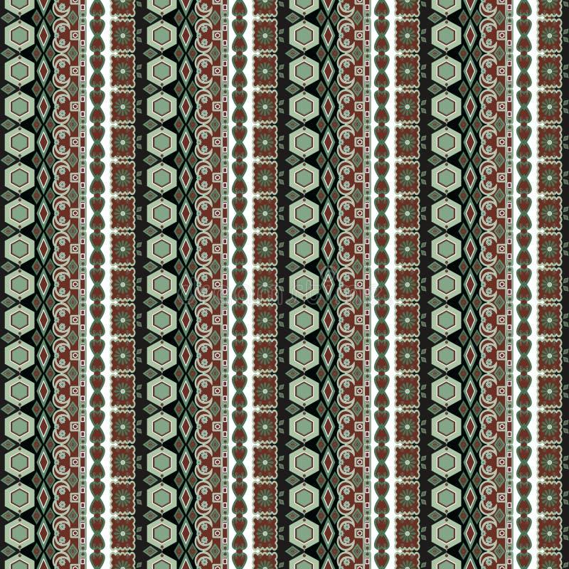 Gör grön damast arabesquebeståndsdelar för orientalisk sömlös modell textur vektor illustrationer