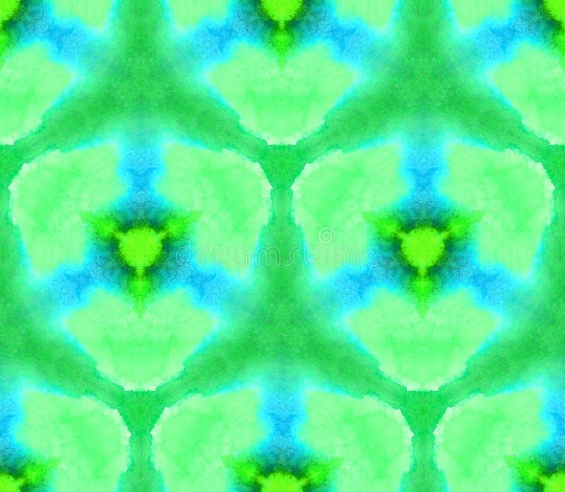 Gör grön den sömlösa modellkalejdoskopet för vattenfärgen från texturen av ljus, rena färger blått stock illustrationer