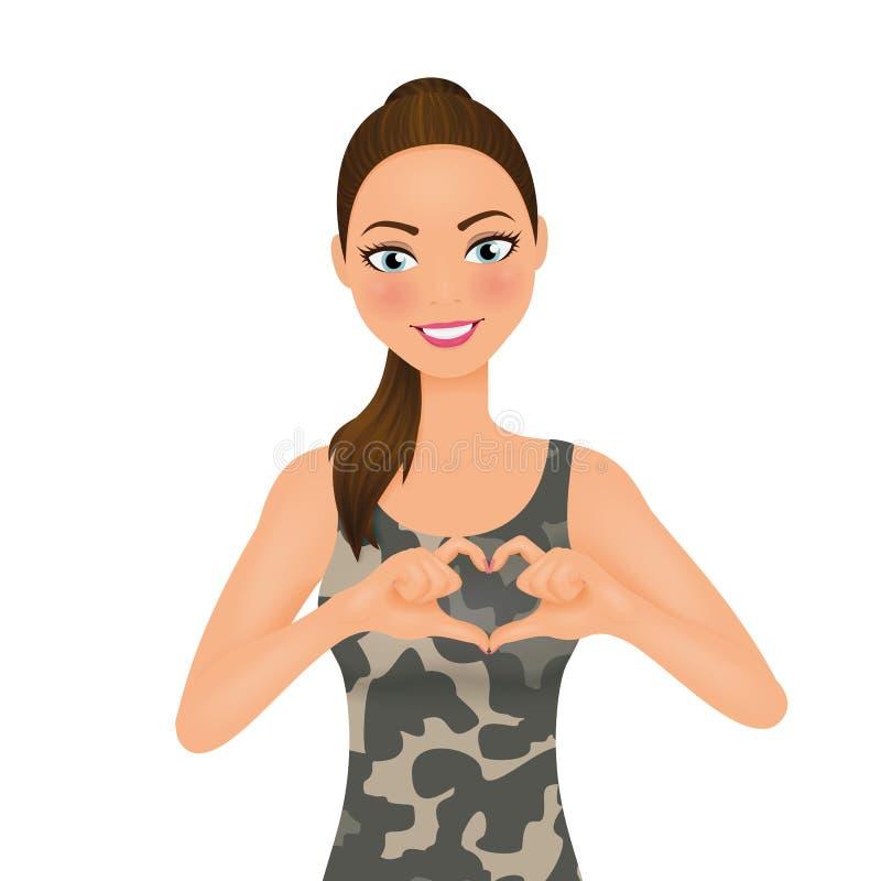 Gör krigbegreppet för förälskelse inte Nätt kvinna i militär kamouflage vektor illustrationer