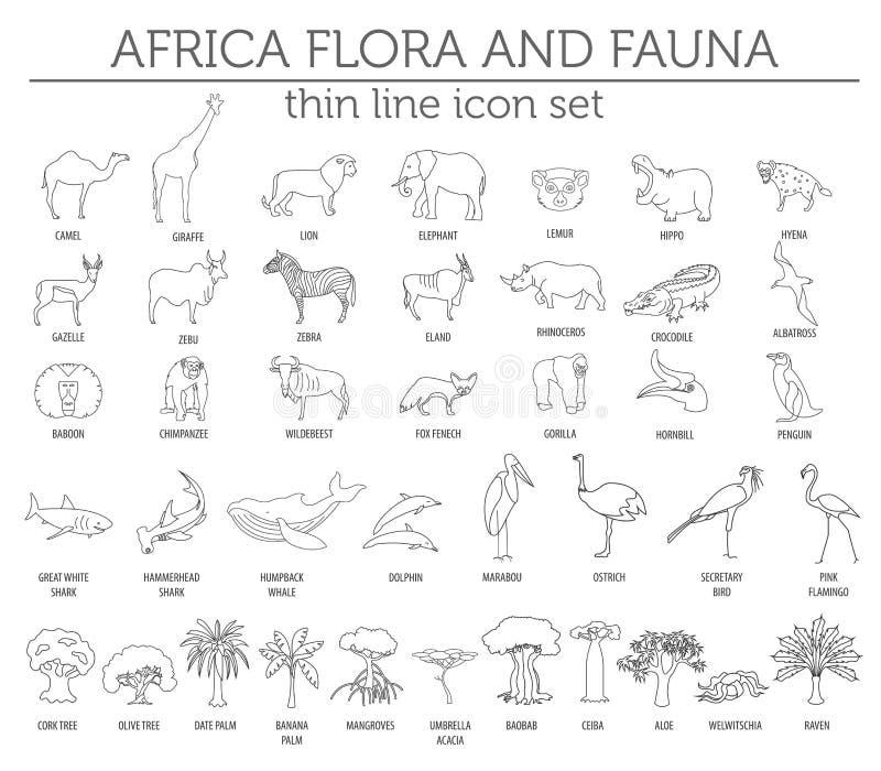 Gör linjen Afrika flora- tunnare och faunabeståndsdelar Djur, fåglar och se royaltyfri illustrationer