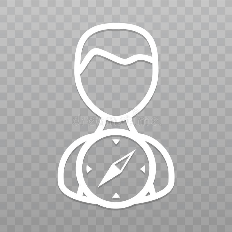 Gör linjen folk med kompasssymbolen tunnare Fyndriktning på genomskinlig bakgrund stock illustrationer