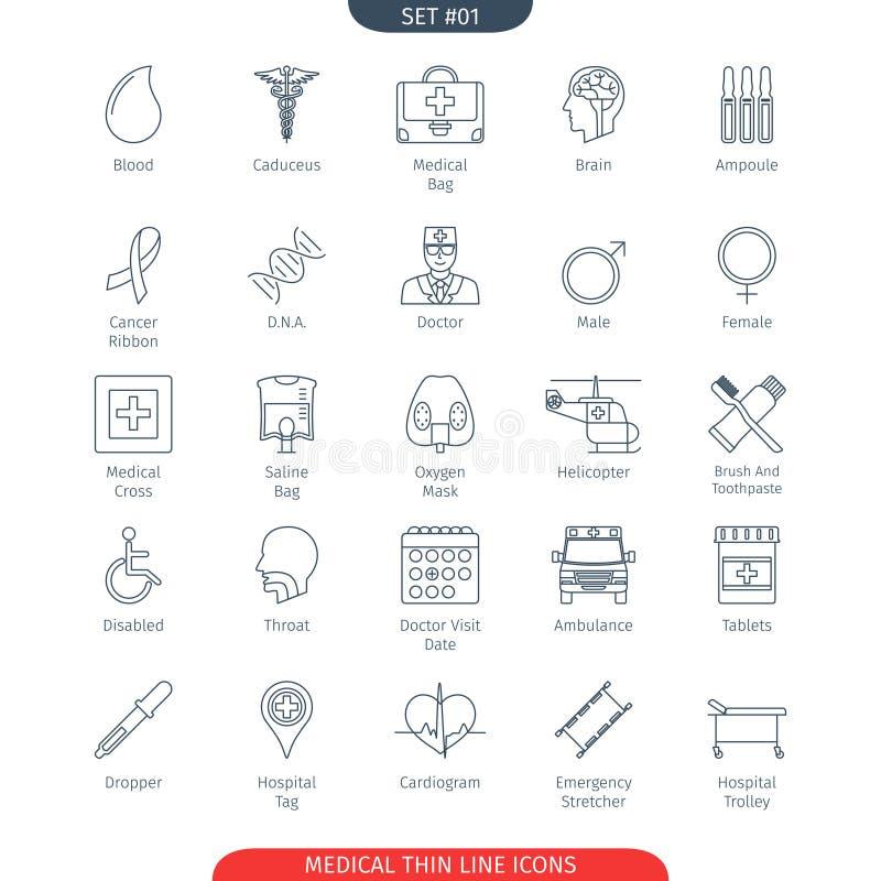 Gör linjen läkarundersökning 01 tunnare vektor illustrationer