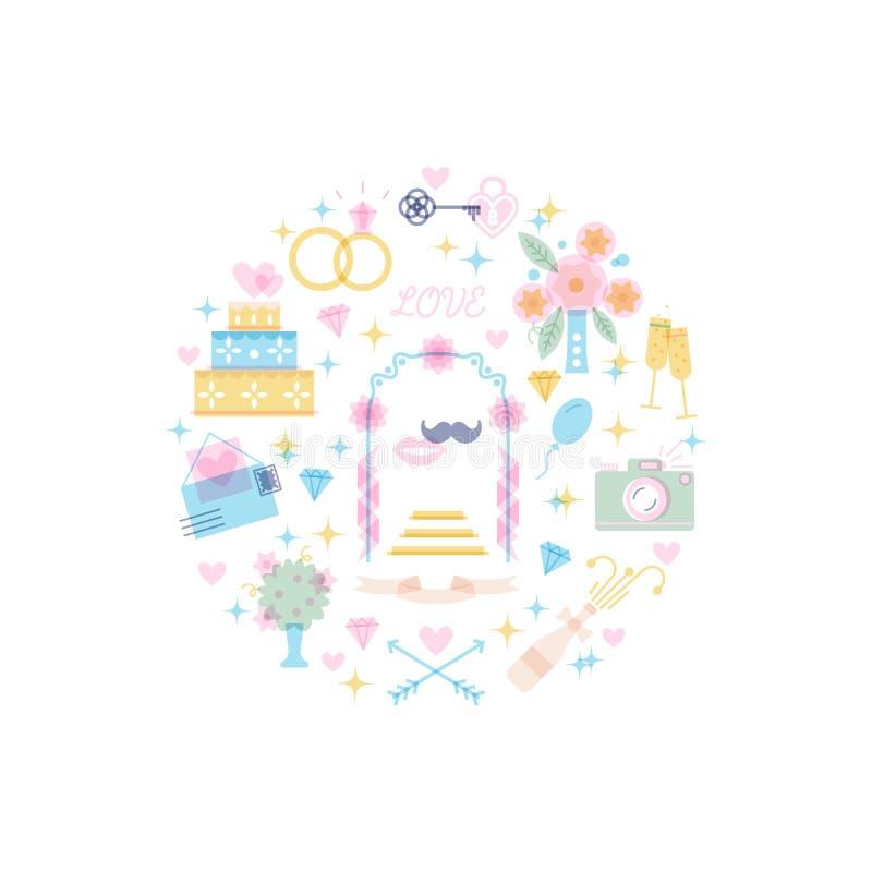 Gör linjen och plana symboler av bröllop, organisation för speciala tillfällen tunnare vektor illustrationer