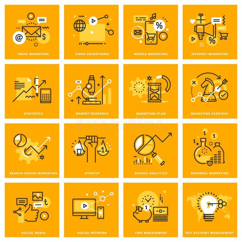 Gör linjen rengöringsduksymboler tunnare av den internetmarknadsföringen och advertizingen vektor illustrationer