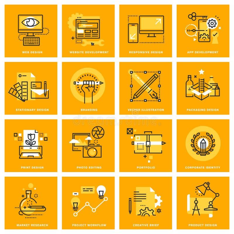 Gör linjen rengöringsduksymboler tunnare av rengöringsdukdesignen och utveckling stock illustrationer