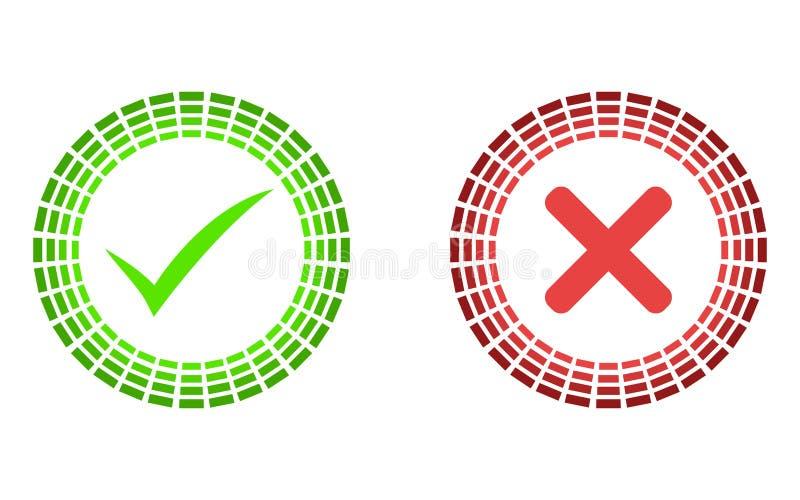 Gör linjen symboler för kontrollfläck tunnare Gröna fästing- och Röda korsetcheckmarks sänker linjen symbolsuppsättning Vektorill stock illustrationer