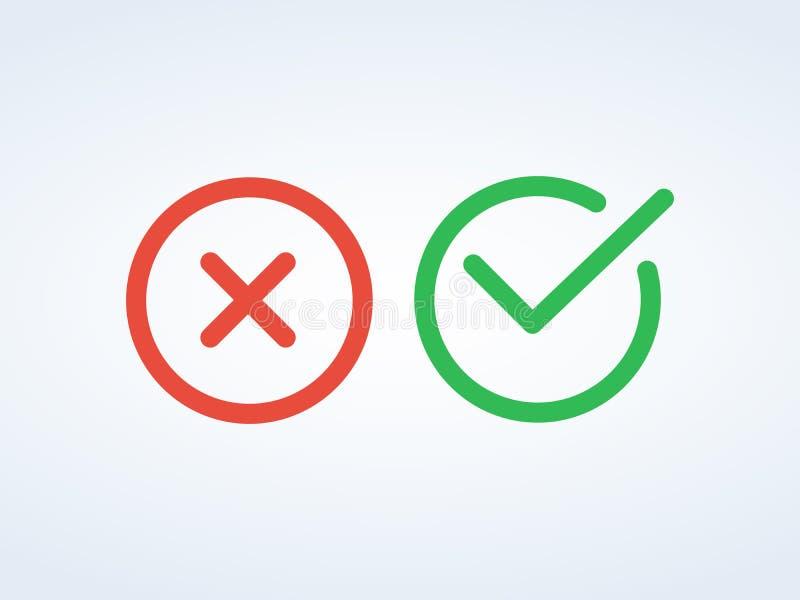 Gör linjen symboler för kontrollfläck tunnare Gröna fästing- och Röda korsetcheckmarks sänker linjen symbolsuppsättning stock illustrationer