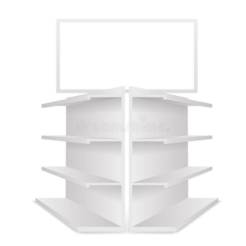 Gör mellanslag tomma handelhyllor för lager 3d den ljusa realistiska mallmodellen som isoleras på den vita vektorillustrationen stock illustrationer