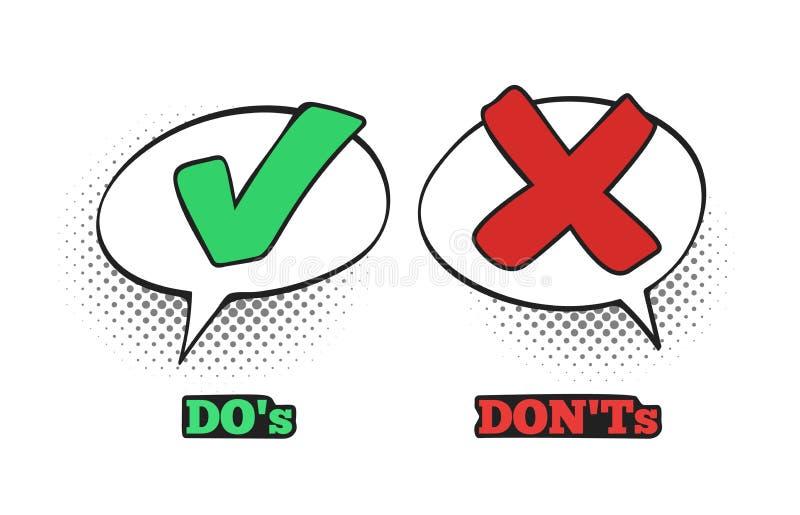 Gör och gör det inte komiska tecknet Ok kontrollfläck, ingen dialogmolnask och illustration för vektor för Röda korsetkomikerteck stock illustrationer