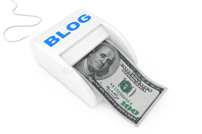 G?r pengar med bloggbegrepp Maskin f?r blogg f?r pengartillverkare med dollarsedeln framf?rande 3d vektor illustrationer