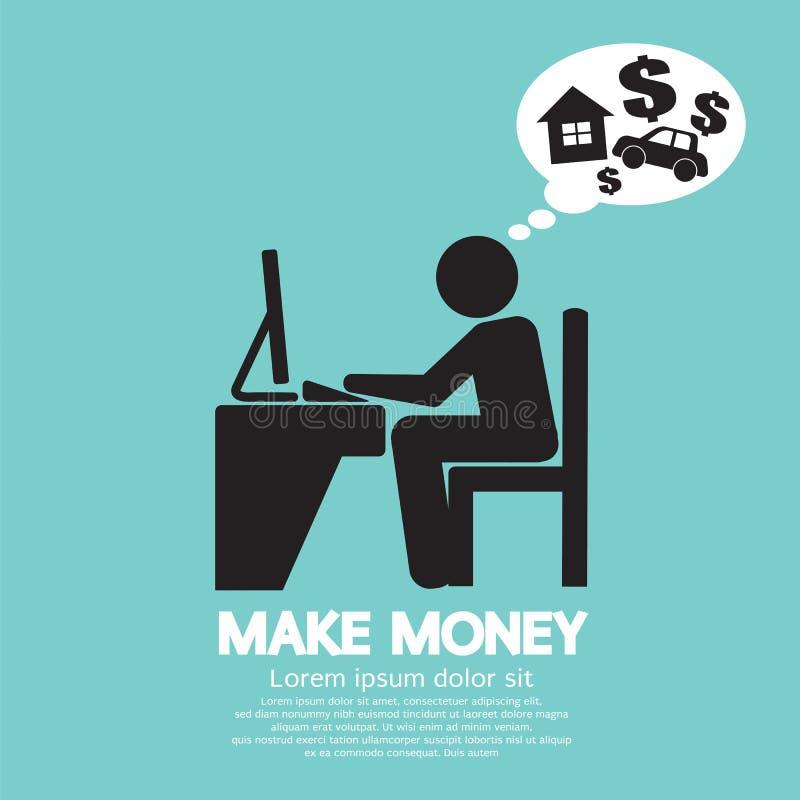 Gör pengar Person Working With Laptop royaltyfri illustrationer