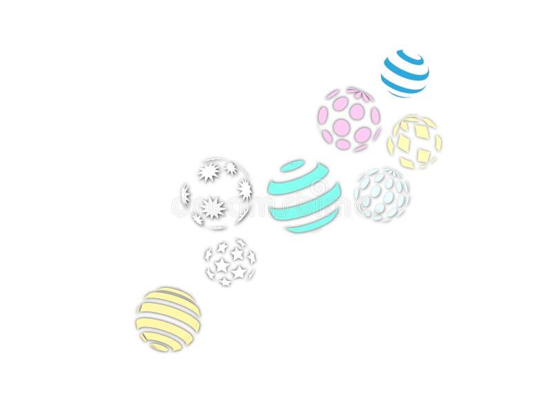 Gör randig dekorativa stjärnor för sfärabstrakt begreppprydnad logo för polygonprickmodell stock illustrationer