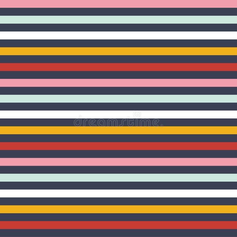 Gör randig den mång- bandmodellen för den sömlösa vektorn med kulör horisontalparallell rött, blått, vitt, guld-, rosa färger och stock illustrationer