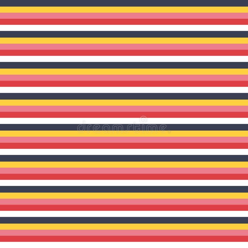 Gör randig den mång- bandmodellen för den sömlösa vektorn med kulör horisontalparallell rött, vitt, guld-, rosa färger och marinb stock illustrationer
