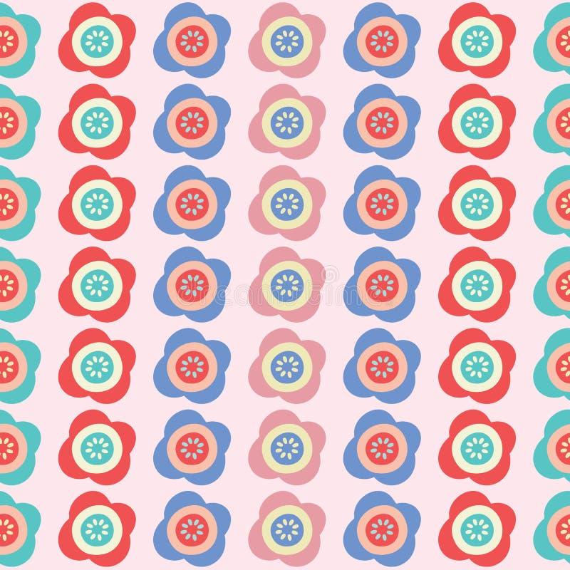 Gör randig ljusa blommor för vektor sömlös repetitionmodellbakgrund royaltyfri illustrationer