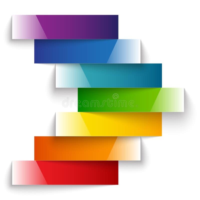 Gör randig skinande papper för den färgrika regnbågen banerpilen vektor illustrationer