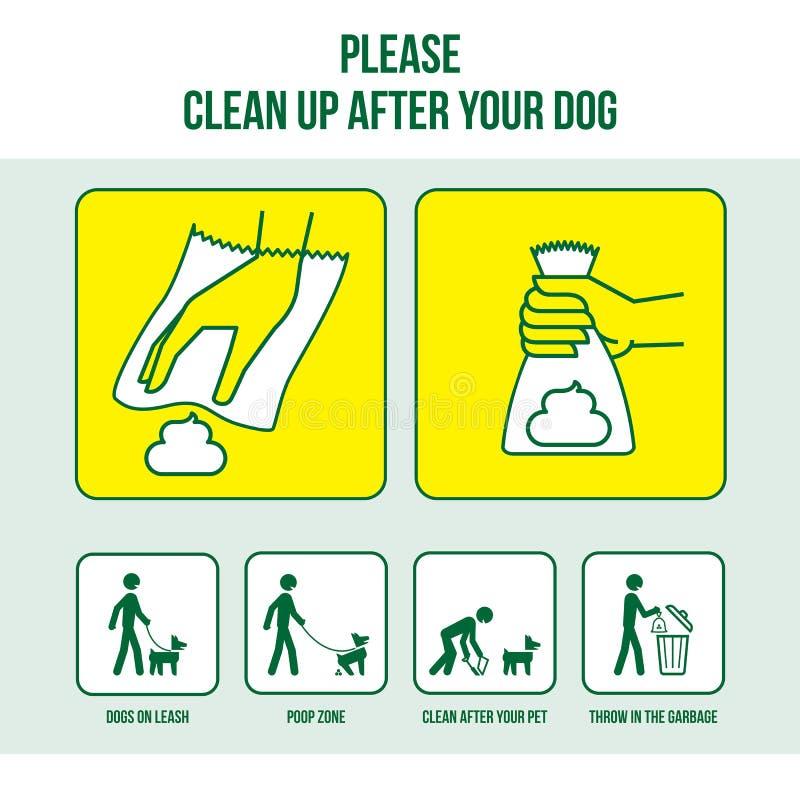 Gör ren efter din hund vektor illustrationer