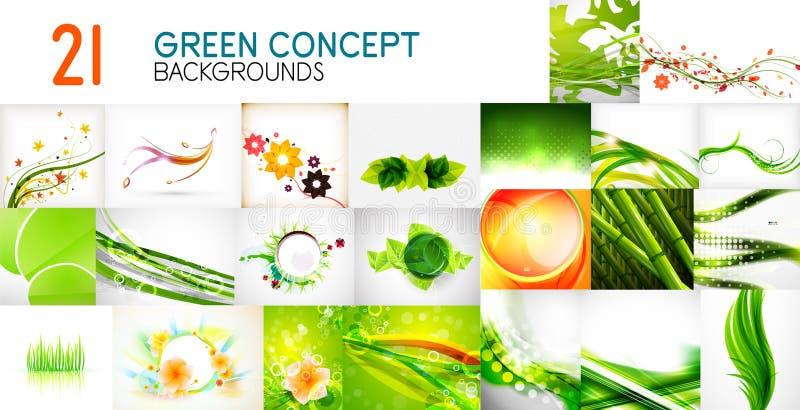 Gör sammandrag den mega samlingen för vektorn av gröna skinande vågor, virvlar, flödande former bakgrunder och baner stock illustrationer