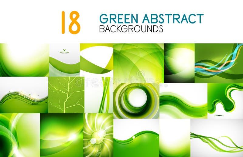 Gör sammandrag den mega samlingen för vektorn av gröna skinande vågor, virvlar, flödande former bakgrunder och baner royaltyfri illustrationer