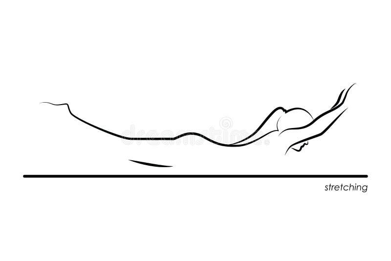 göra övningar som sträcker kvinnabarn vektor illustrationer