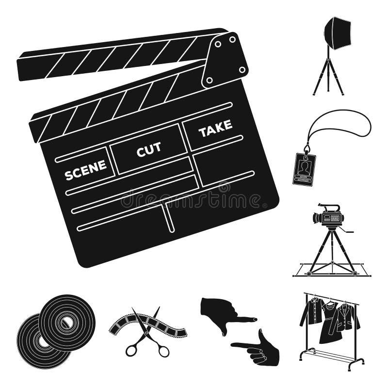 Göra en film svärta symboler i uppsättningsamlingen för design Attribut- och utrustningvektorsymbolet lagerför rengöringsdukillus stock illustrationer