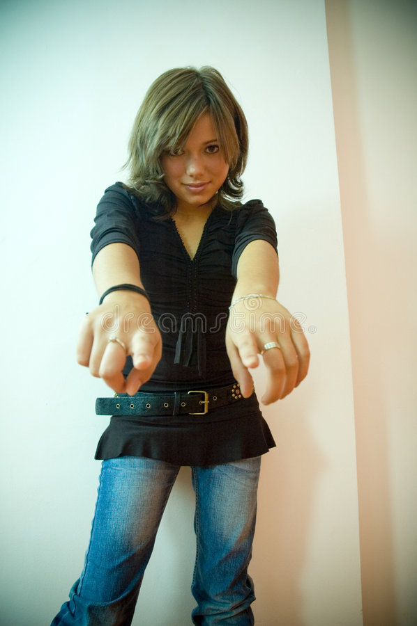 göra en gest kvinna royaltyfria foton