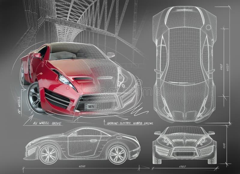 göra en skiss av bilsportar stock illustrationer