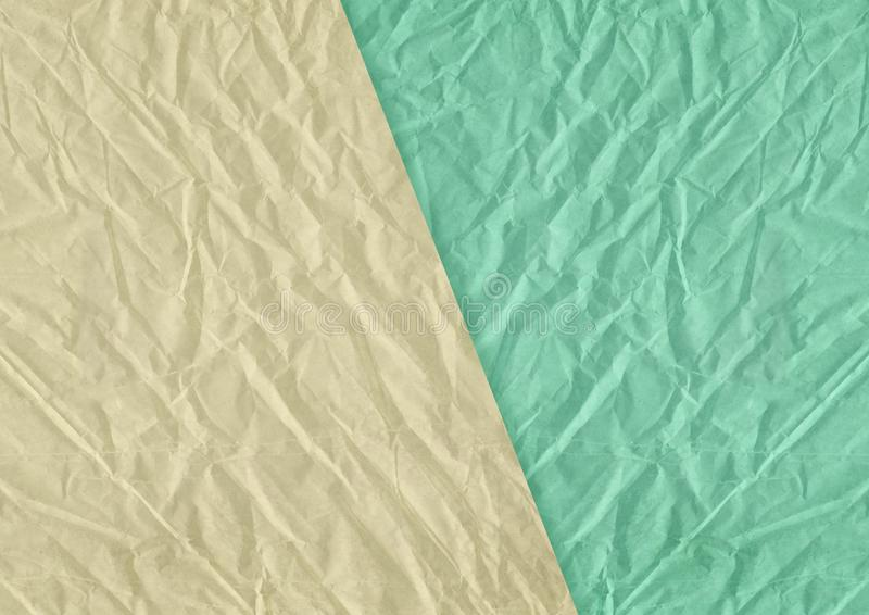 Göra grön, gulna skrynklig och grungy texturerad pappers- backgroun för mellanrumet royaltyfri illustrationer