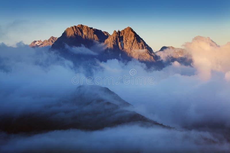 Göra häpen sikten av den Mont Blanc bergskedjan under sommaren Med det är härliga glaciärer, höga maxima och lätta treks royaltyfri foto