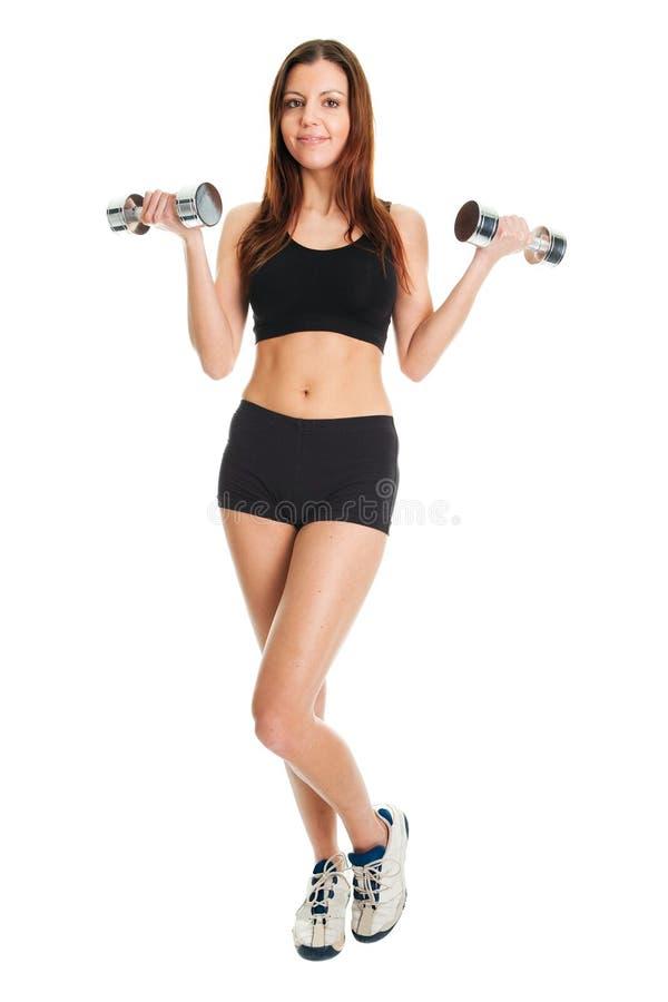 göra konditionlyftande viktkvinnan arkivfoton