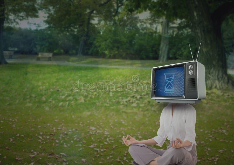 göra kvinnayoga huvudillustrationen för tecknad film 3d framförde tv:n stock illustrationer