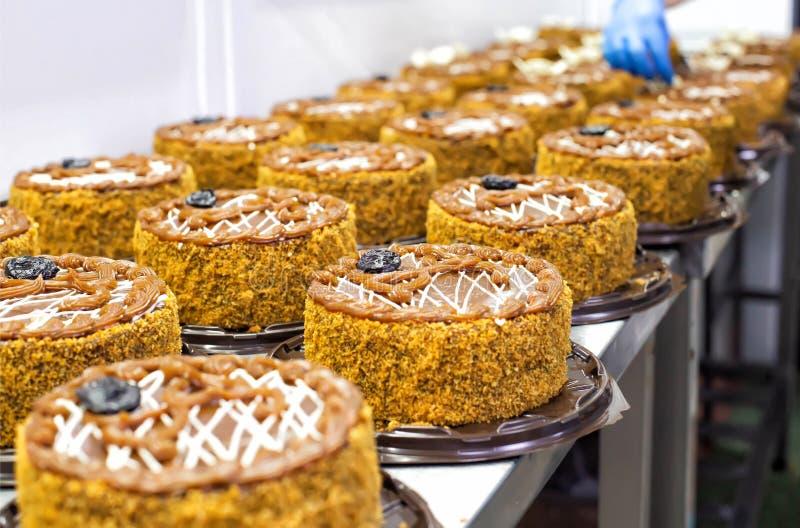 Göra ljusbruna kakor med kondenserat mjölka och katrinplommoner för konfektproduktion Livsmedelsindustri efterrätt, torte royaltyfri fotografi