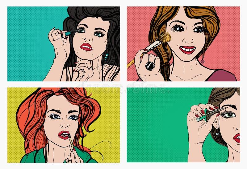 göra makeupkvinnan Härliga flickor med skönhetsmedel, läppstift, ögonbryn, hud, mascara Popkonst som är retro, komiker utformar u vektor illustrationer