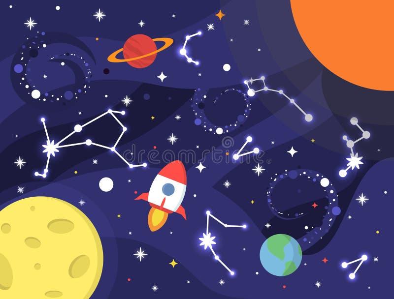 Göra mellanslag bakgrund med nebulosan, planeter, stjärnor, den mjölkaktiga vägen, konstellation, jord, raket, månen, svart hål g stock illustrationer