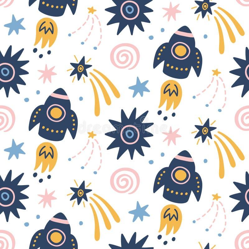 Göra mellanslag den barnsliga sömlösa modellen för galaxen med utrymmeskepp, stjärnor, kosmiska beståndsdelar stock illustrationer