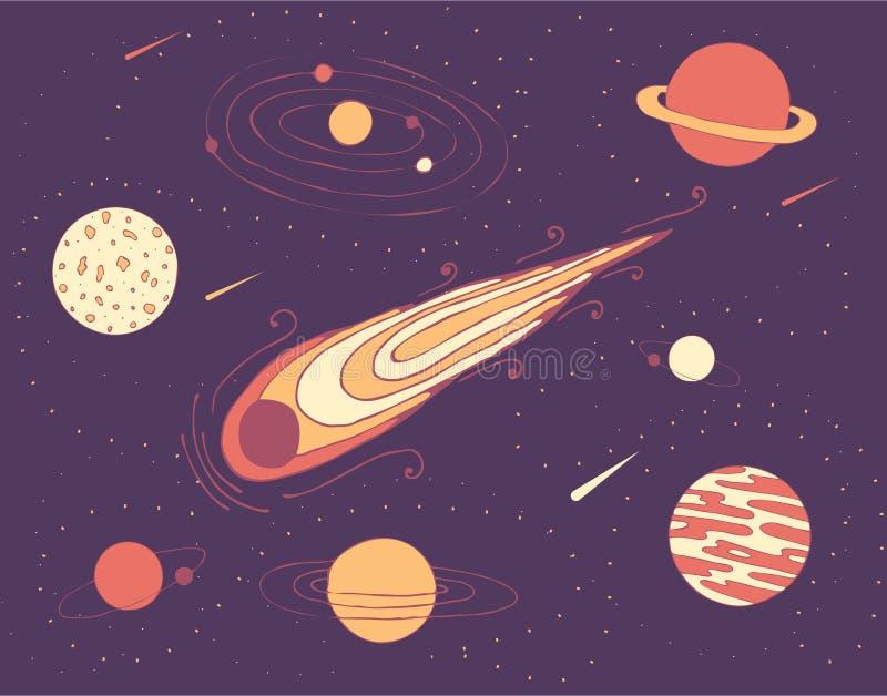 Göra mellanslag illustrationaen av kosmiska planeter, en meteorit och en galax i stjärnklar himmel vektor illustrationer