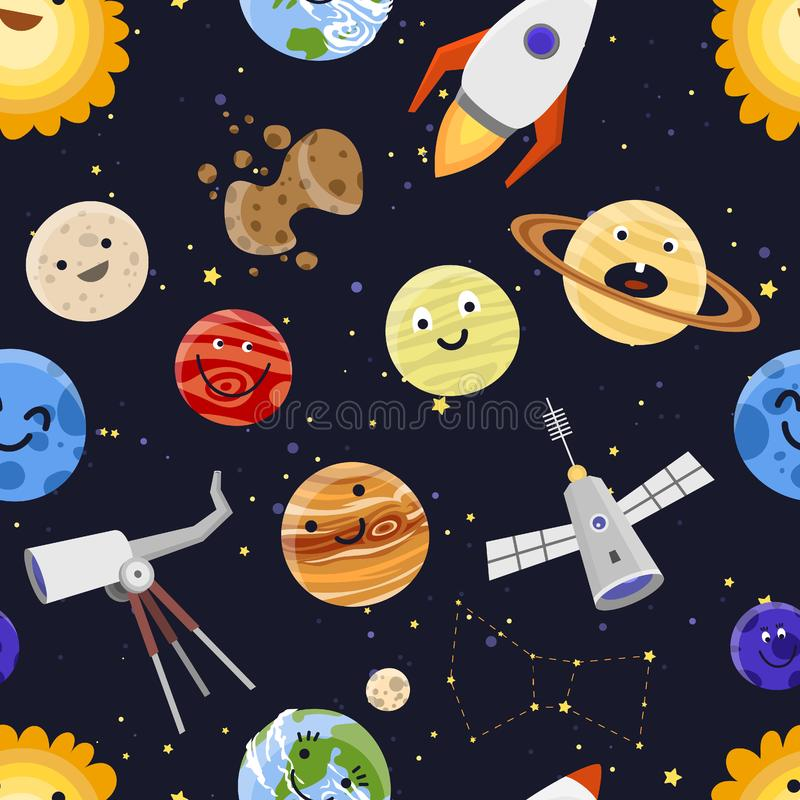 Göra mellanslag illustrationen för vektorn för bakgrund för modellen för planetsolsystemastrologi den sömlösa stock illustrationer