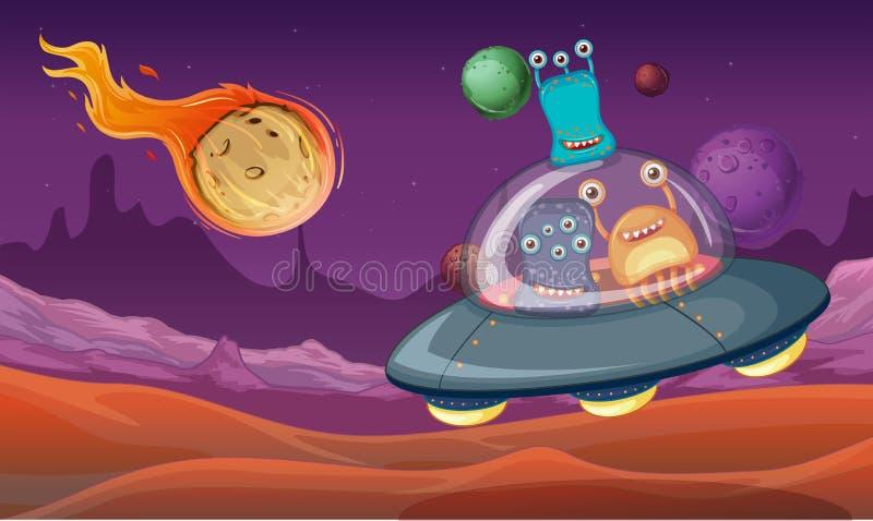 Göra mellanslag temat med främlingar i ufolandning på planeten stock illustrationer