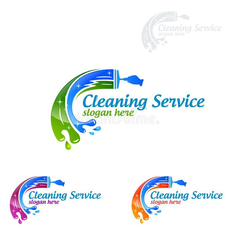 Göra ren hem tjänste- vektorlogodesign, den Eco vänskapsmatchen med den skinande kvasten och cirkelbegrepp stock illustrationer